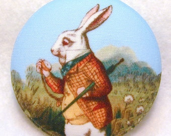 Alice Wonderland Rabbit  Hand Printed Fabric Covered Button 1 and 1/2 inch Diameter