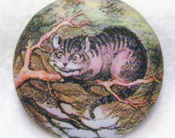 Cheshire Cat from Alice Wonderland  Hand Printed Fabric Covered Button 1 and 1/8 inch Diameter