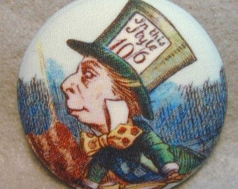 Mad Hatter Alice Wonderland Hand Printed Fabric Covered Button 1 and 1/8 inch Diameter