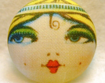 Flapper Button SAVANNAH - Hand Printed Fabric 1 and 1 eighth inch