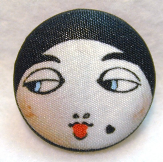 Flapper Button BLACK - Hand Printed Fabric 1 and 1 eighth inch