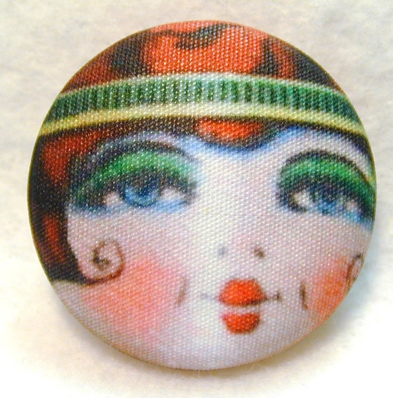 Flapper Button RUBY - Hand Printed Fabric 1 & 1/8 inch
