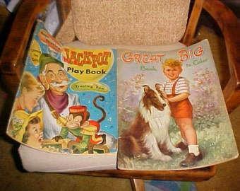 Two vintage Big coloring books.. Jackpot and Great Big