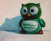 Owl Print - Green Finger-Puppet Toy Nursery Art