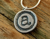 Typewriter Letter Key Fine Silver Necklace