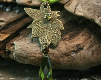 LEAF CLUSTER Bronze And Cubic Zirconia Necklace (Ready to Ship)