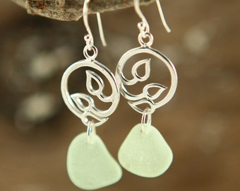 First Buds GENUINE Seaglass Sterling Silver Earrings RARE (Ready to Ship)