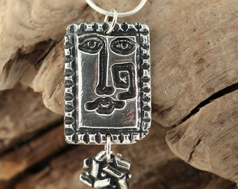 FACE OF CUBISM Fine Silver Tree Necklace