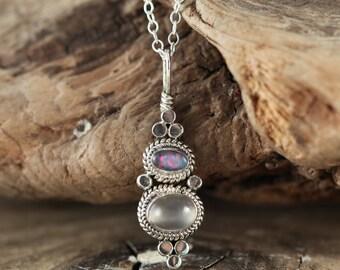 NEVALYASKA  Opal And Cats Eye Sterling Silver Necklace (Ready to Ship)