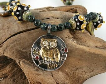 Golden Owl Necklace and Earrings FINE SILVER Set (Ready to Ship)