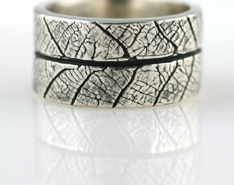 WIDE Leaf Textured Fine Silver Ring Size 9 READY To SHIP