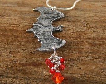 Halloween Visitor Fine Silver BAT Necklace