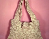 knit bag -pearly white and tan