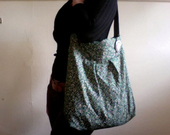 Green and White Tiny Floral Sac Bag - With Pockets and Save Our Planet Pin/Button