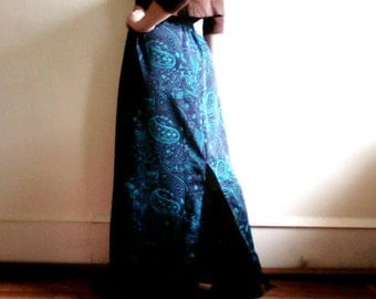 SALE Silky Long Paisley Skirt with Slit - Dark Blue, Teal, Trippy, Psychedelic
