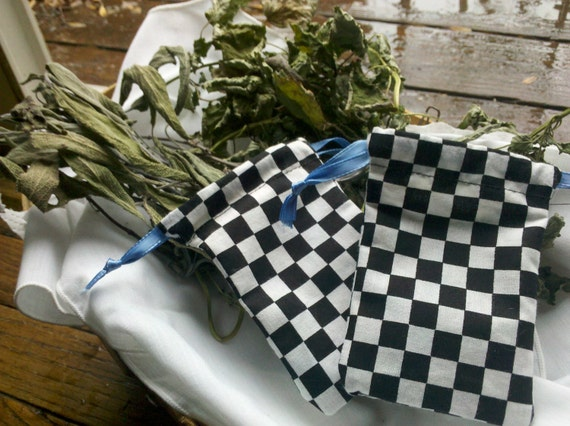 Menstrual Cup OR Medicine / Herb Drawstring Bag - Checkered Black and White Cotton