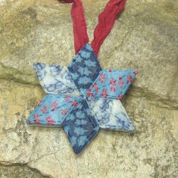 Calico Star Quilt Pendant