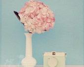 Flower Photo, Pink Hydrangea, Fine Art Print, Vintage Camera, Cottage Chic, Still Life Photo, Shabby Chic, Teal, Wall Art, Square 8x8 Print
