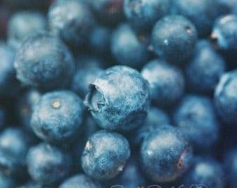 Fine Art Photograph, Blueberry Photo, Food Art, Summer Fruit, Macro Photo, Summer, Indigo, Berries, Cafe Art, Square Art, Kitchen Decor