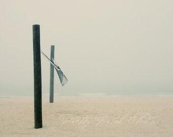 Fine Art Photograph, Lido Beach Florida, Minimalism Art, Volleyball Art, Fog, Morning, Volleyball Net, Tranquil, Ocean, Ocean, 8x10 Print