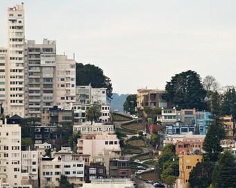 Fine Art Photograph, Lombard Street, San Francisco Photo, California Art, Landscape, Cityscape, Home Decor, Twists, West Coast, Lombard Art