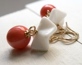 White ruffles and coral beads, vintage glass earrings on gold fill