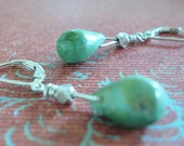 Turquoise Gemstone Dew Drop Earrings with Thai Silver