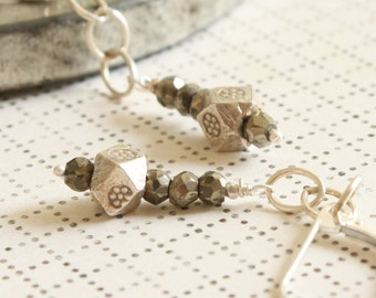 Pyrite Dangle Earrings with Octagon Thai Silver Beads