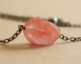 Juicy Cherry Quartz Gemstone Necklace