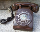 SALE Cocoa brown vintage ROTARY dial ITT phone