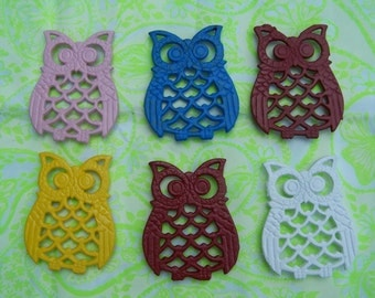 Pop art cast iron owls