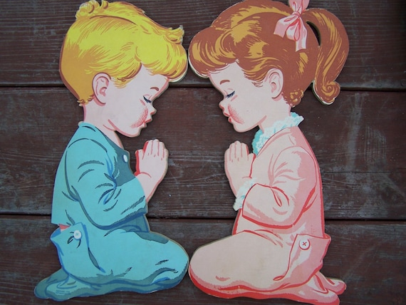 Vintage Praying Children - wall decor