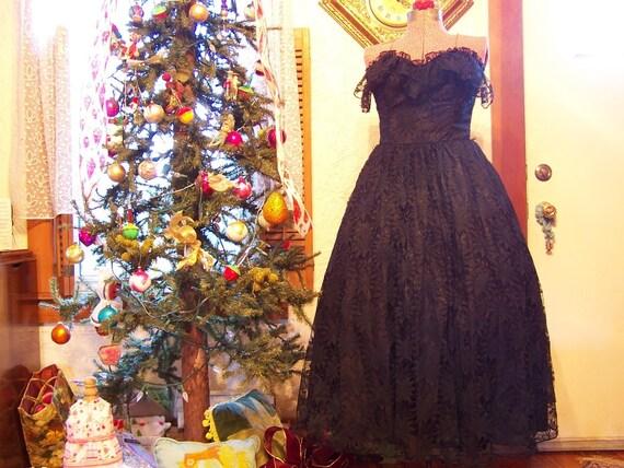 Vintage Black Lace Dress - 1980s Rock Star