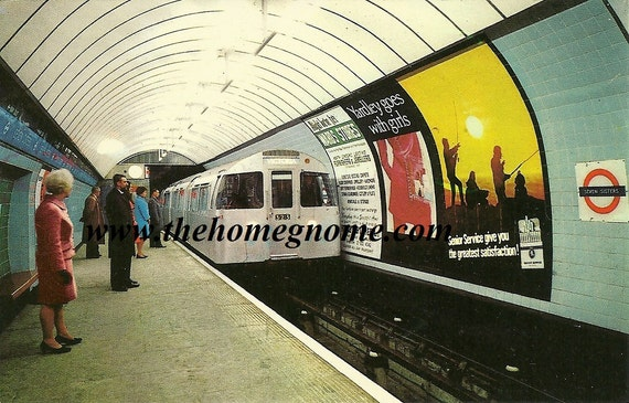 Vintage London Postcard / London Tube / Vintage Advertisement/ London 1970s