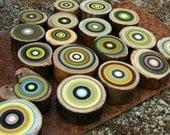 Large Set of Original Green TREE RING Art