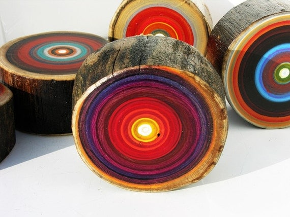 rustic reds five original tree ring paintings by tracy melton