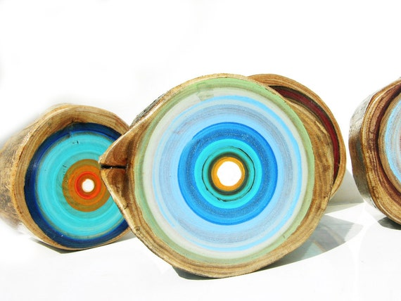 Set of 5 Original Tree Ring Paintings by Tracy Melton