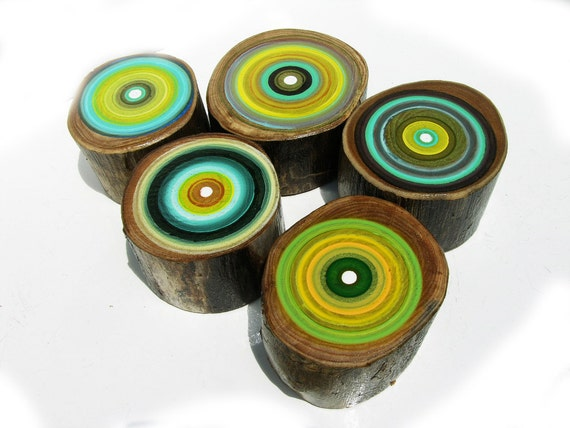 Five Modern blue and Yellow Paintings on Reclaimed Old Wood Tree Rings by Tracy Melton