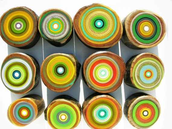 Paintings on Reclaimed Scrap Wood 12 SMALL Tree Rings A Natural Gift for Him