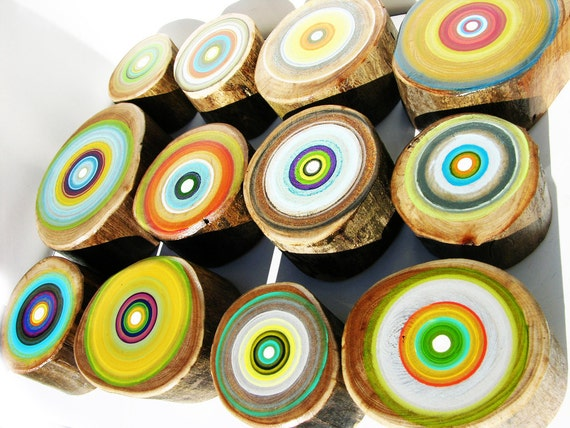 Original Green Art for your Home or Cabin in warm summer colors Tree Rings Set of 12