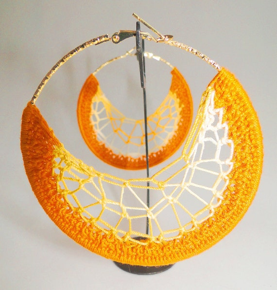Orange and Multi-color Yellow Crochet Hoop Earrings