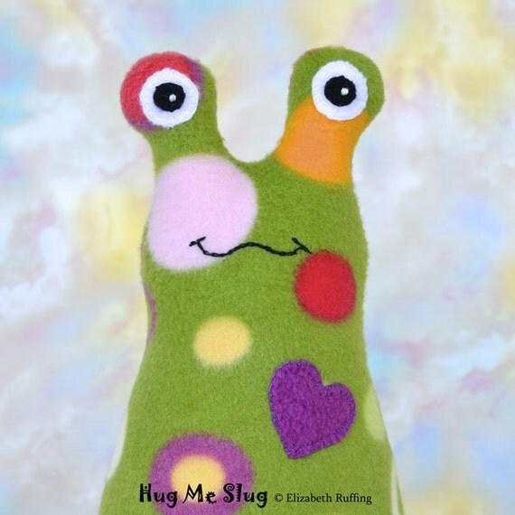 Hug Me Slug with Personalized Hang Tag, Original Art Toy by Elizabeth Ruffing, 9 inch, Fleece, Green Polka Dot, Ready-made