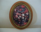 Vintage Shabby Floral Arrangement Framed Picture Made in Italy