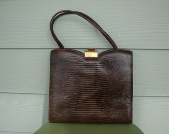 Vintage Brown Reptile Purse Handbag