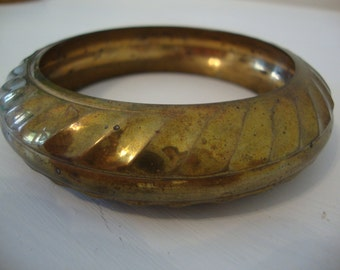 Vintage Chunky Brass Bangle Bracelet Textured and Distressed