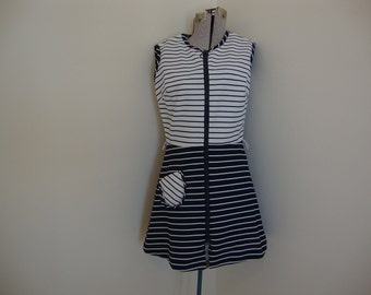 Vintage Navy and White Striped MIni Play Dress Zip Front