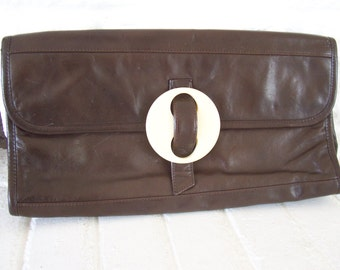 Vintage Chocolate Brown Morris Moskowitz Envelope Clutch Oversize and Fabulous
