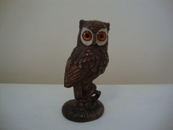 Vintage Owl Statue 1970s Ceramic
