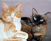 Custom 9x12 Commissioned Two Pet Portrait Painting Life Like Detail any pet