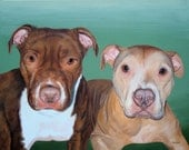 Hand Painted 16x20 Two Pet Painting  Your Pets any Animal Dog Cat or Horse